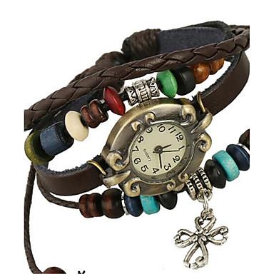 Damen digital Armband-Uhr Armbanduhren für den Alltag Leder Band Böhmische Modisch Braun