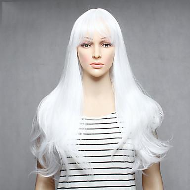 Synthetische Perücken Glatt Weiß Damen Kappenlos Lang Synthetische Haare