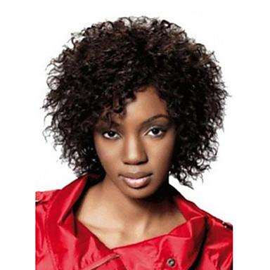 Syntetiske parykker Afro / Kinky Curly Syntetisk hår Svart Parykk Dame Lokkløs Svart