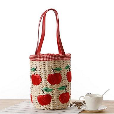 Női Szalma Alkalmi Bevásárlótáska Piros