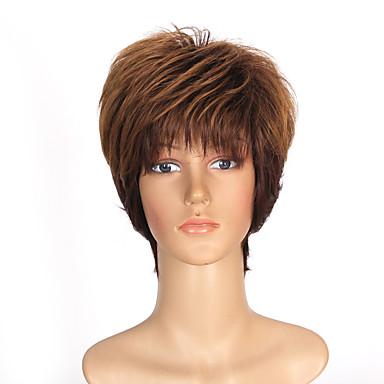 cor marrom longo cabelo liso peruca sintética europeu