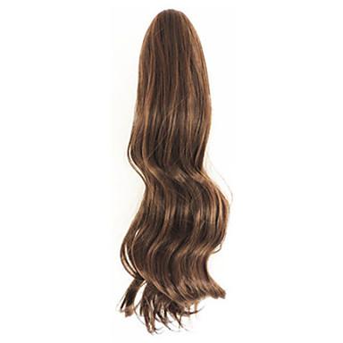 krøllet lys brun syntetisk lange krøllede hår klo klip paryk hestehale