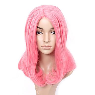 Damen Synthetische Perücken Kappenlos Mittel Glatt Rosa Bubikopf Kostümperücke