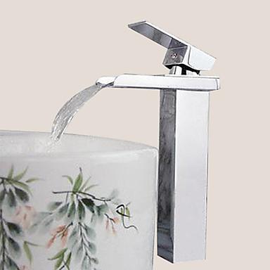 Contemporary Centerset Waterfall Ceramic Valve One Hole Single Handle One Hole Chrome, Bathroom Sink Faucet