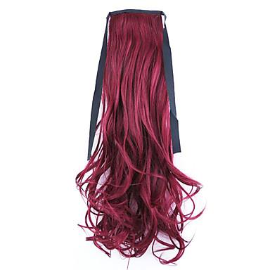 comprimento vermelho 50 centímetros venda direta da fábrica ligamento tipo de cabelo rabo de cavalo rabo de cavalo de onda (cor 118c)