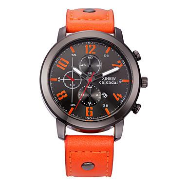 Herrn Modeuhr Quartz Kalender Armbanduhren für den Alltag Leder Band Charme Schwarz Rot Orange Braun