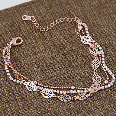 נשים שרשרת וצמידים אבן נוצצת חיקוי יהלום סגסוגת אופנתי Leaf Shape זהב ורד תכשיטים 1 זוג