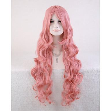 Cabelo Sintético perucas Ondulado Sem Touca Longo Rosa