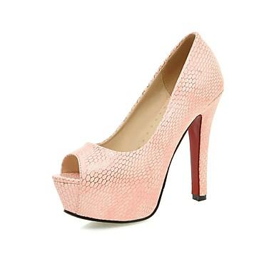Femme Chaussures Similicuir Printemps Eté Talon Aiguille Plateau Pour Décontracté Habillé Soirée & Evénement Blanc Beige Rose