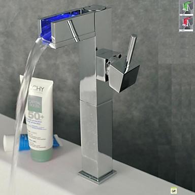 Zeitgenössisch Mittellage LED with  Keramisches Ventil Einhand Ein Loch for  Chrom , Waschbecken Wasserhahn
