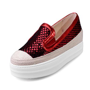 Damen-Loafers & Slip-Ons-Outddor Kleid Lässig-Kunststoff PU-Plateau-Plateau Creepers Komfort-Schwarz Rot