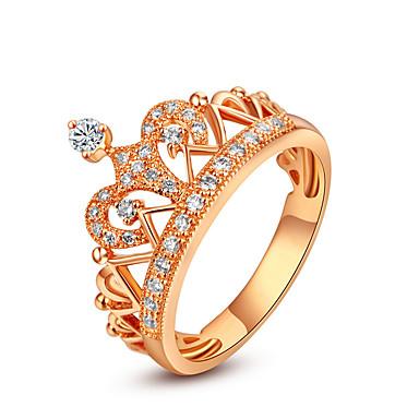 Feminino Anéis Grossos Fashion Prata de Lei Strass Formato Coroa Jóias Casamento