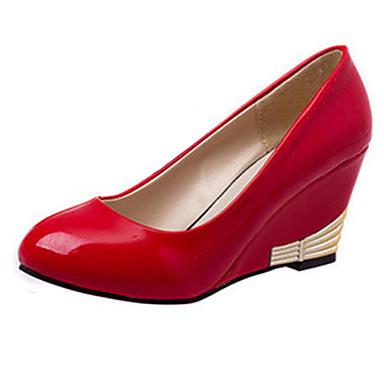Femme Chaussures Cuir Verni Printemps Automne Confort Hauteur de semelle compensée pour Bureau et carrière Blanc Noir Rouge Kaki