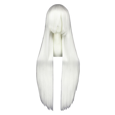 Perruques de Cosplay Kagerou projet Fujiwara no Mokou Blanc Long Anime Perruques de Cosplay 100 CM Fibre résistante à la chaleurMasculin