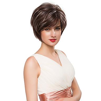 gracieuse capless naturelle ondulée courte remy main de cheveux humains attachés perruques -Top pour femme