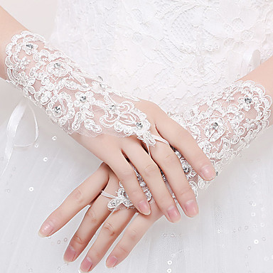 Elasthan / Spitze Handgelenk-Länge Handschuh Brauthandschuhe / Party / Abendhandschuhe With Strass