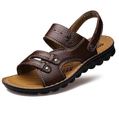 Homme Chaussures Cuir Eté Sandales Marche Cloutée pour Décontracté De plein air Jaune Marron