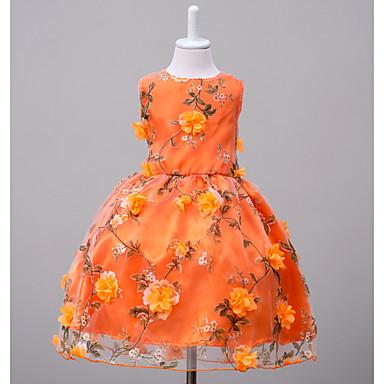 Mädchen Kleid Wochenende Ausgehen Blumen Polyester Sommer Ärmellos Blumig Orange Rosa