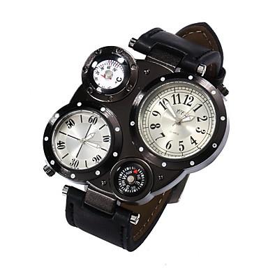 Homens Relógio Militar Relógio Elegante Quartzo Impermeável / Couro Banda Casual Preta Azul Marrom