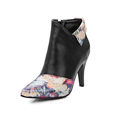 Mulheres Sapatos Courino Inverno Outono Conforto Botas da Moda Botas Caminhada Salto Agulha Dedo Apontado Presilha para Casual Social