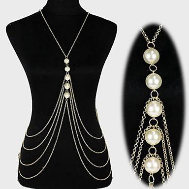 preiswerte Körperschmuck-Perlen Mehrlagig / Quaste Bauchkette / Körper-Kette / Bauchkette / Harness Halskette Perlen, Künstliche Perle Erklärung, Quaste, Europäisch, Bikini, Modisch Damen Gold / Silber Körperschmuck Für