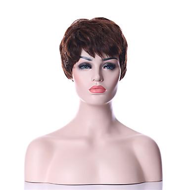 Synthetische Perücken Glatt / Locken Synthetische Haare 6 Zoll Braun Perücke Damen Kurz Kappenlos Braun