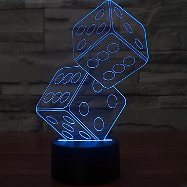 1 stk 3D nattlys Mulighet for demping Usb Mangefarget Plast 1 Lampe Ingen Batterier Inkludert 23.0*17.0*5.0cm