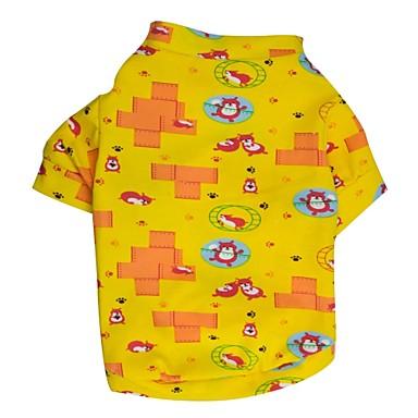 Kat / Hund Trøye / T-skjorte / Pyjamas Hundeklær Tegneserie Gul / Blå Terylene Kostume For kjæledyr Sommer Herre / Dame Fritid / hverdag