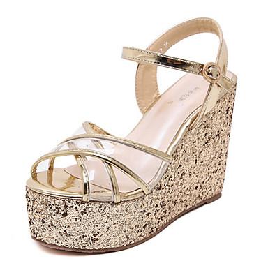 kvinners sko pu sommer kiler / åpen tå sandaler kle kilehæl paljett sølv / gull