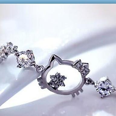 Dame Kvadratisk Zirconium Kæde & Lænkearmbånd - Sølv, Zirkonium, Kvadratisk Zirconium Dyr Mode Armbånd Hvid Til Daglig Afslappet