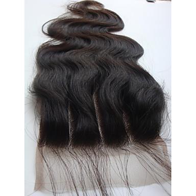 baratos Fechamento & Frontal-PANSY weave do cabelo Extensões de cabelo humano Onda de Corpo Clássico Cabelo Humano Cabelo Brasileiro Nós descorados Mulheres Preto jet