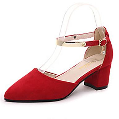 Femme Chaussures Daim Printemps Automne Talon Bottier Boucle pour Bureau et carrière Soirée & Evénement Noir Gris Rouge