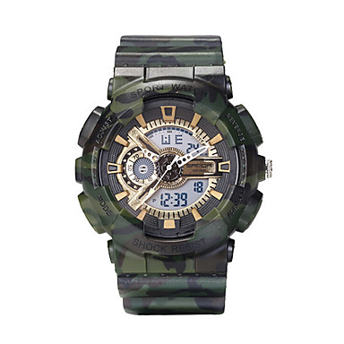 Masculino Relógio Esportivo Relógio Militar Relógio de Moda LCD Calendário Cronógrafo Dois Fusos Horários Noctilucente Digital Silicone
