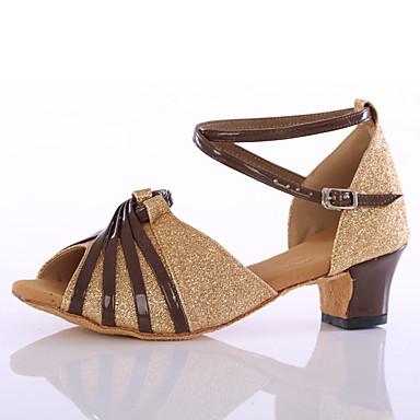 Női Latin cipők Flitter Magassarkúk Otthoni Személyre szabott sarok Arany Személyre szabható