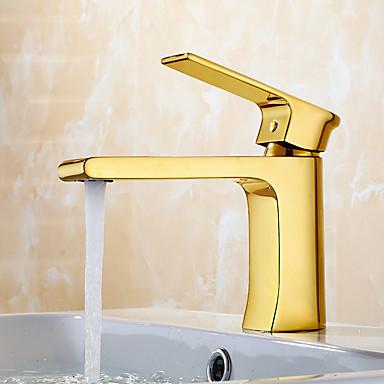 Moderne Modern Standard Spout 3-Loch-Armatur Wasserfall Keramisches Ventil Einhand Ein Loch Ti-PVD, Waschbecken Wasserhahn Armatur für