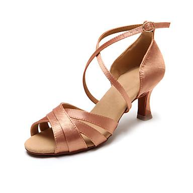 Chaussures de danse(Noir / Or) -Non Personnalisables-Talon Bas-Satin-Latine