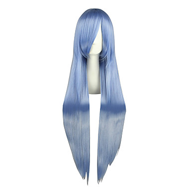 Perucas de Cosplay Projecto de Touhou Hinanawi Tenshi Azul Longas Anime Perucas de Cosplay 100 CM Fibra Resistente ao CalorMasculino /