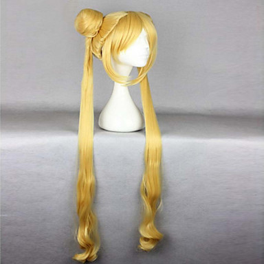 Syntetiske parykker / Kostymeparykker Bølget Blond Med lugg / Med hestehale Syntetisk hår Varme resistent Blond Parykk Dame Veldig lang Lokkløs Blond