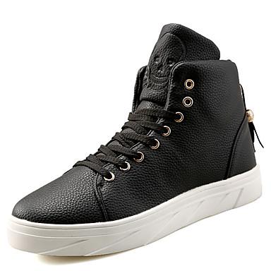 גברים-נעלי ספורט-PU-נוחות-שחור אדום-שטח יומיומי ספורט-עקב שטוח