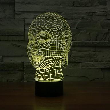 1 stk 3D natlys Usb Dæmpbar 5 V