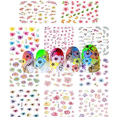 1 Neglekunst klistremerke Vannoverføringsklistre Hel Negle Tipper Blomst Abstrakt Tegneserie Smuk Bryllup Sminke Kosmetikk Neglekunst
