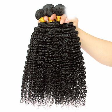 baratos Extensões de Cabelo Natural-3 pacotes Cabelo Mongol Afro Clássico Weave Curly 10A Cabelo Virgem Cabelo Humano Ondulado Tramas de cabelo humano Extensões de cabelo humano / Crespo Cacheado