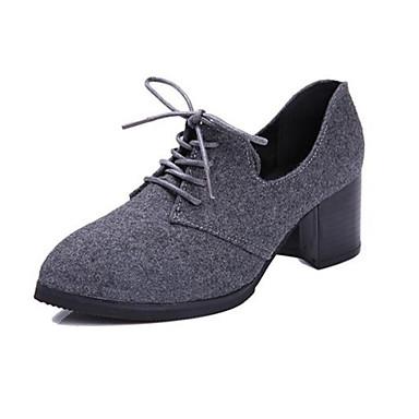 Damen-High Heels-Lässig-Vlies-Blockabsatz-Absätze-Schwarz / Grau