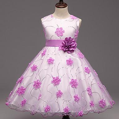 Mädchen Kleid Ausgehen Blumen Polyester Sommer Ärmellos Blumig Purpur Rosa