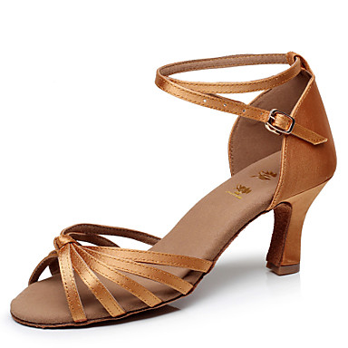 Women's Latin Shoes Satin / Leatherette Sandal Buckle Customized Heel Customizable Dance Shoes Brown / Gold / Royal Blue / Performance