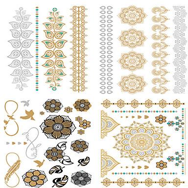 Non Toxic / Waterproof / Metálico manos / brazo Los tatuajes temporales 4 pcs Series de Flor Arco iris Artes de cuerpo