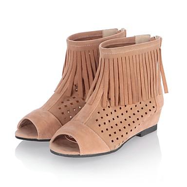 Femme Chaussures Laine synthétique Printemps Eté Gladiateur Talon Bas Gland Pour Décontracté Habillé Noir Orange Beige
