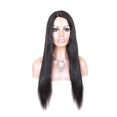 Femme Perruque Naturelle Dentelle Cheveux humains Ouverte 130% Densité Droite Droit crépu Perruque Noir de jais Noir Marron foncé Brun