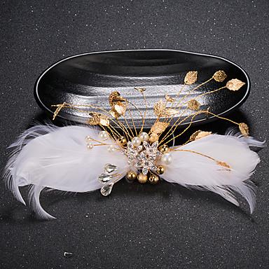 Femme Plume Strass Laiton Imitation de perle Casque-Mariage Occasion spéciale Pique cheveux 1 Pièce