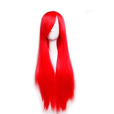 Damen Synthetische Perücken Kappenlos Lang Glatt Rot Kostüm Perücken